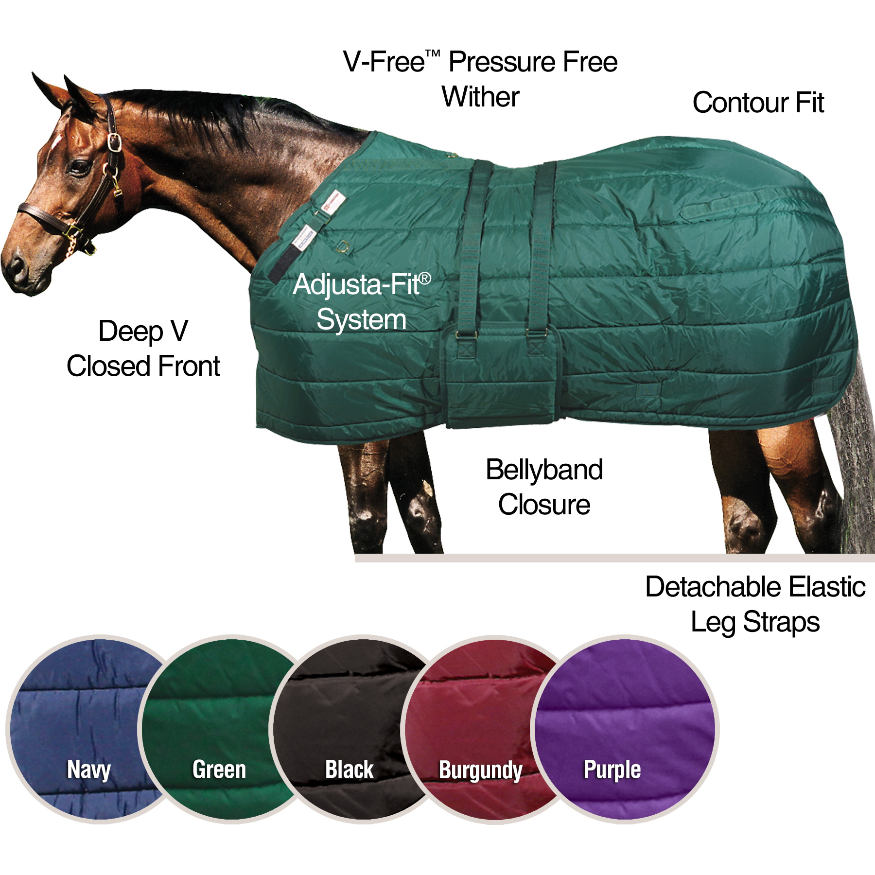 ai13157 Dura-Nylon® V-Free® Guardian Bellyband Stable Blanket - Midweight