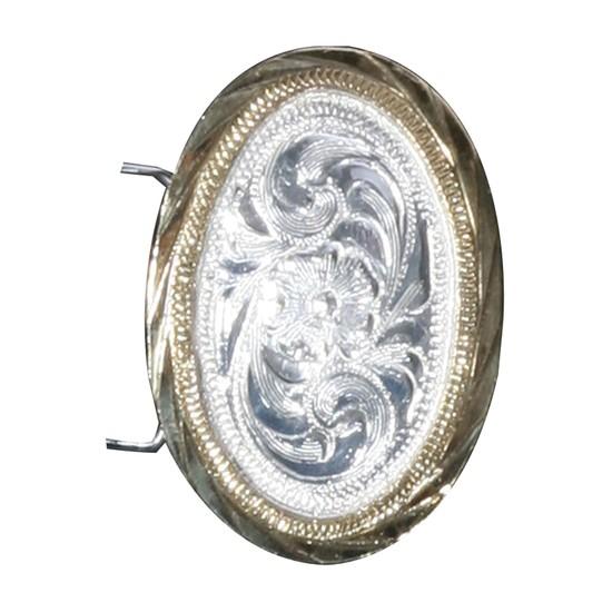 ai03133 Arab Concho Silver Plate Small Oval Gold Edge