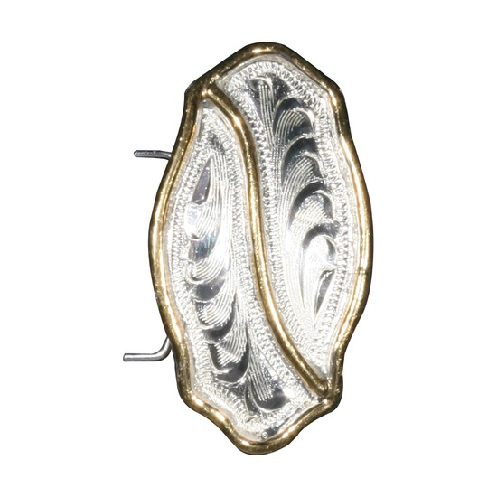 ai03136 Arab Concho Silver Plate Oval with Gold Bar